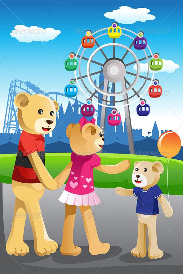 Bear Family Having Fun at Amusement Park - Animals Characters