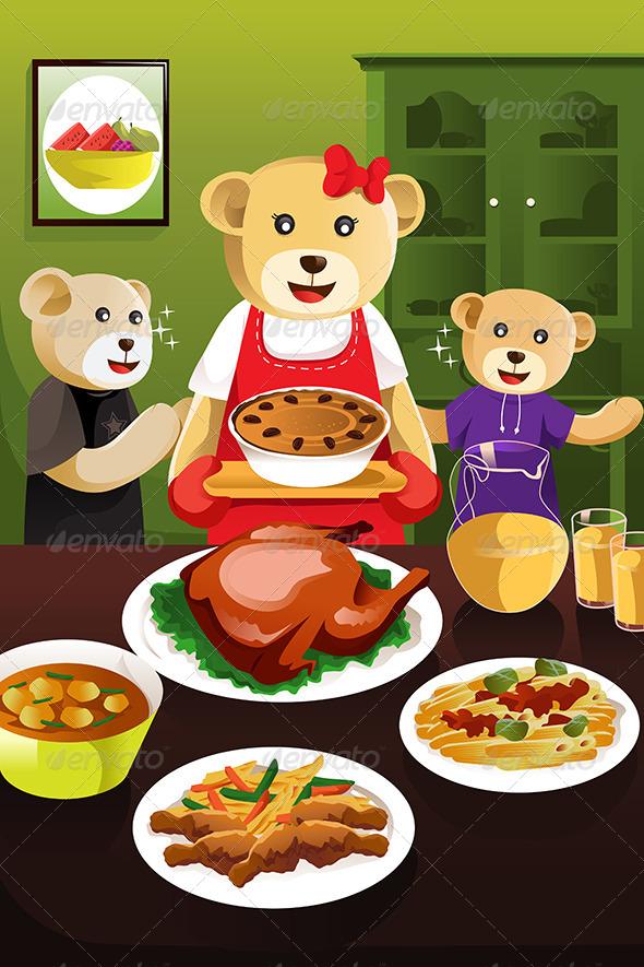 Bear Family Having Dinner - Animals Characters