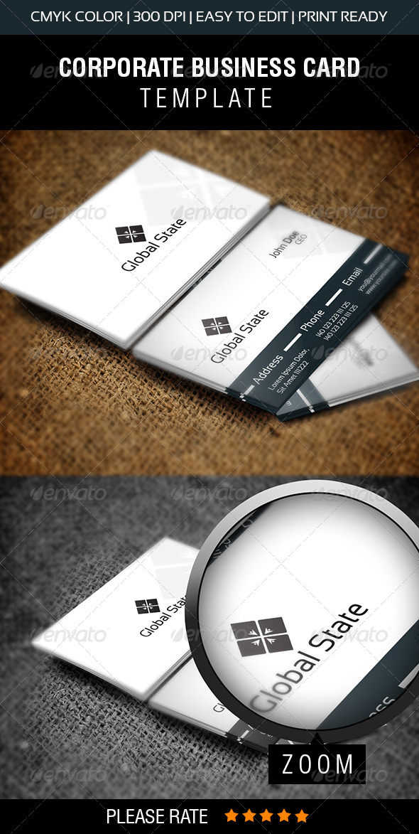 Global State Business Card - Corporate Business Cards