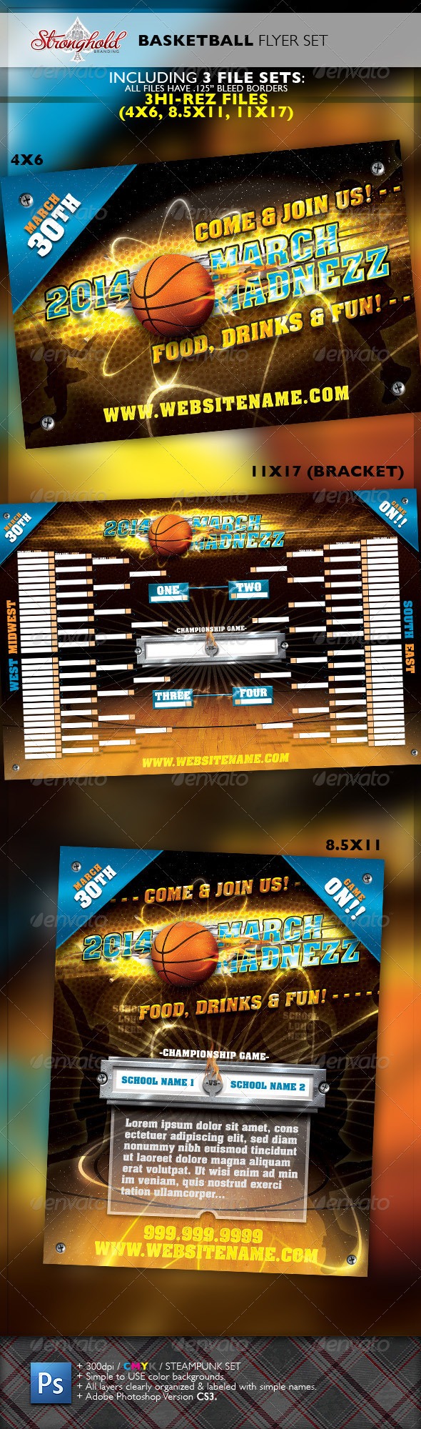 March Madnezz Basketball Tournament Flyer Set - Commerce Flyers