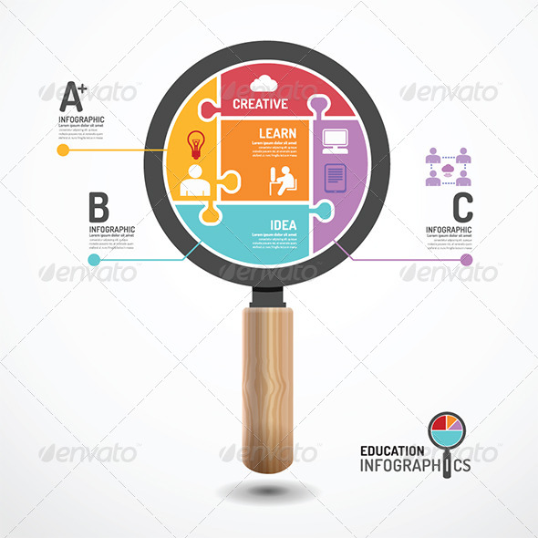 Infographic Template Magnifier Jigsaw Banner - Infographics