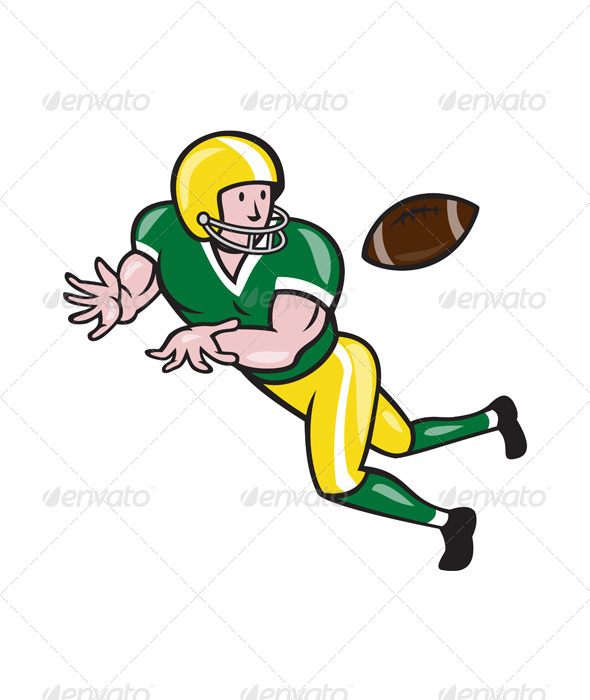 American Football Wide Receiver Catch Ball Cartoon - Sports/Activity Conceptual