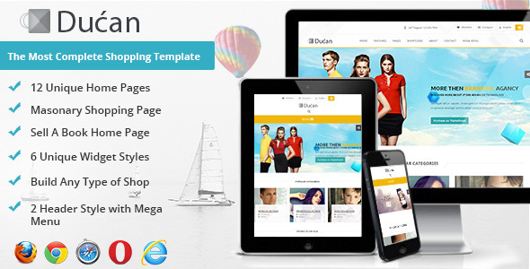Ducan Premium Online Store, HTML Shopping Template
