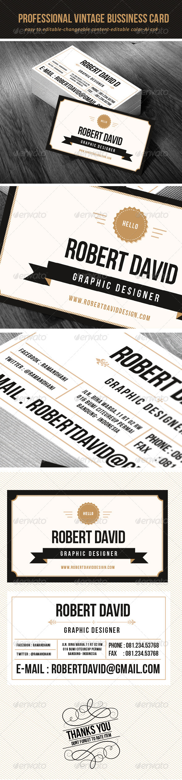 Professional Vintage Bussiness Card - Retro/Vintage Business Cards