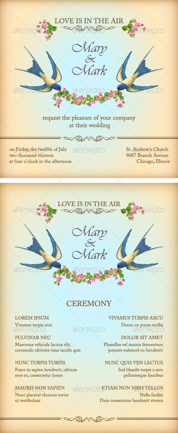 Floral Wedding Invitation Card with Flowers, Birds - Weddings Seasons/Holidays