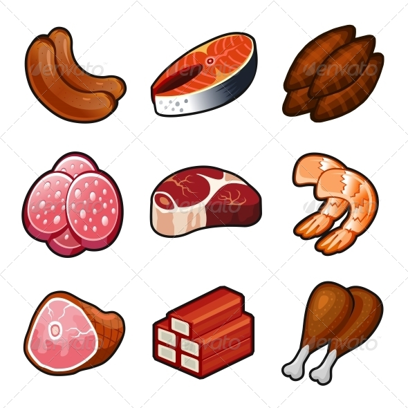 Meat Food Icons Set - Food Objects
