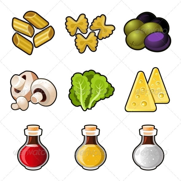 Italian Food Icon Set - Food Objects