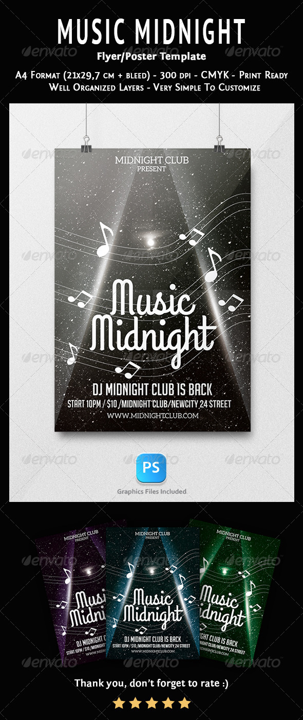 Music Midnight Flyer Template - Concerts Events