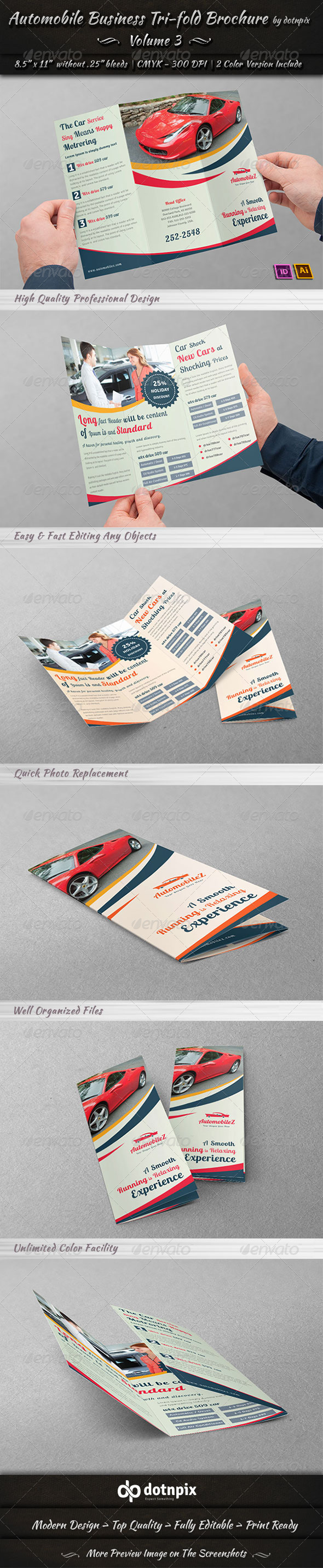 Automobile Business Tri-Fold Brochure | Volume 3 - Corporate Brochures