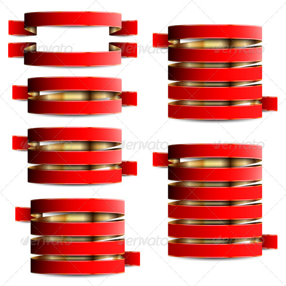 Collection of Red with Gold Ribbons - Decorative Vectors