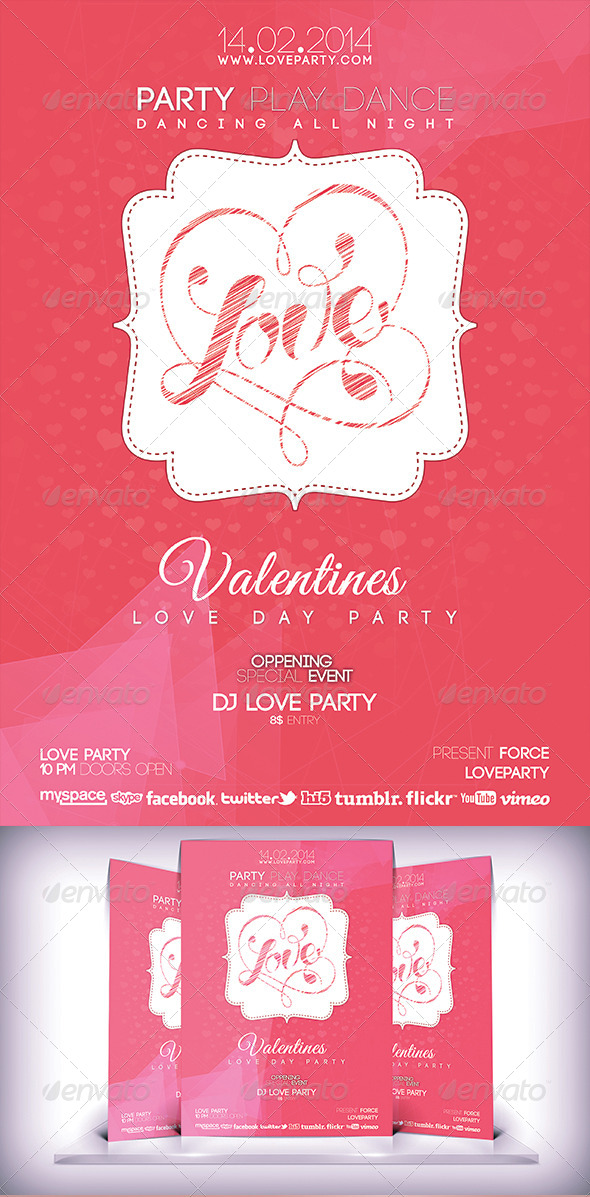 Love Day Party Fyer - Flyers Print Templates
