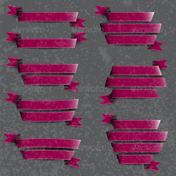 Collection of Cherry Ribbons - Decorative Vectors