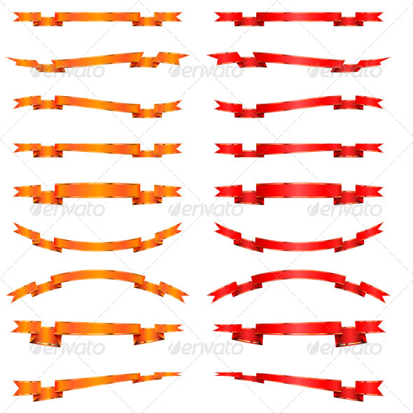 Collection of Orange and Red Ribbons - Decorative Vectors