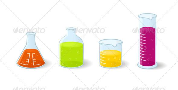 Chemistry Bottles - Objects Vectors