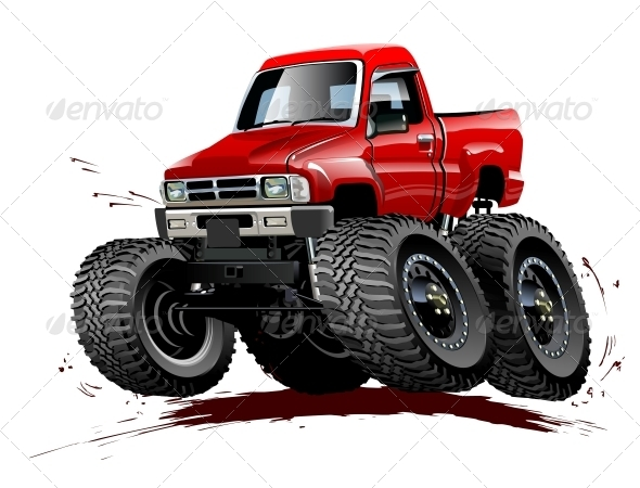 Cartoon Monster Truck One-Click Repaint - Man-made Objects Objects