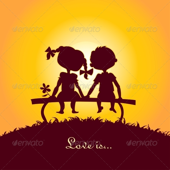 Sunset Silhouettes of Boy and Girl - Seasons Nature