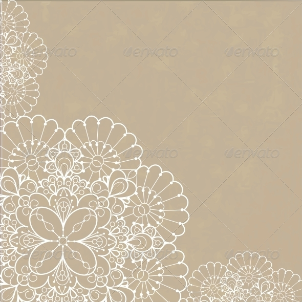 Retro Background with Lace Ornament - Backgrounds Decorative