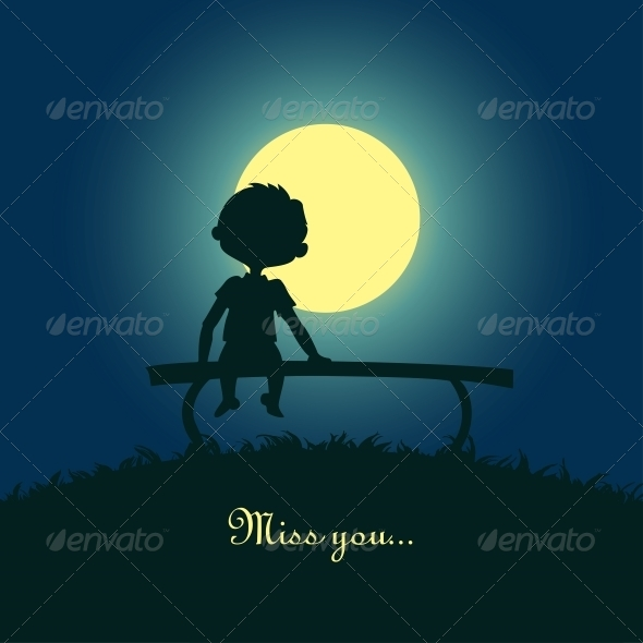 Boy Sitting Lonely in the Moonlight - People Characters