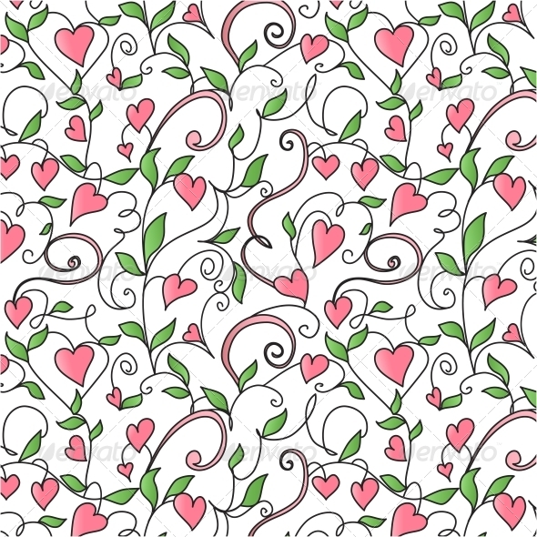 Background with Hearts Ornament - Patterns Decorative