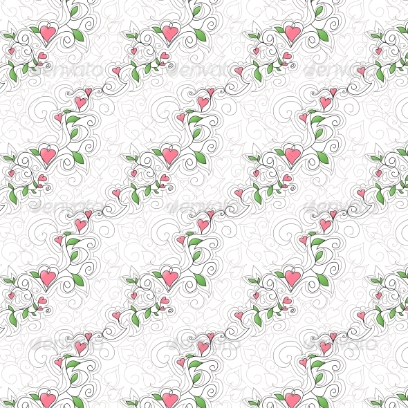 Seamless Background with Hearts - Patterns Decorative