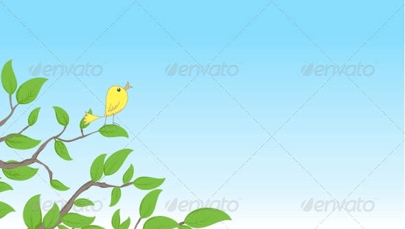 Background with Bird on a Tree - Patterns Decorative