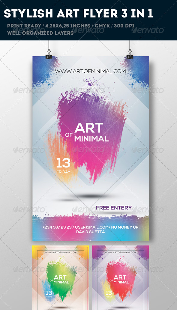 Pink Art Flyer 3 in 1 - Flyers Print Templates