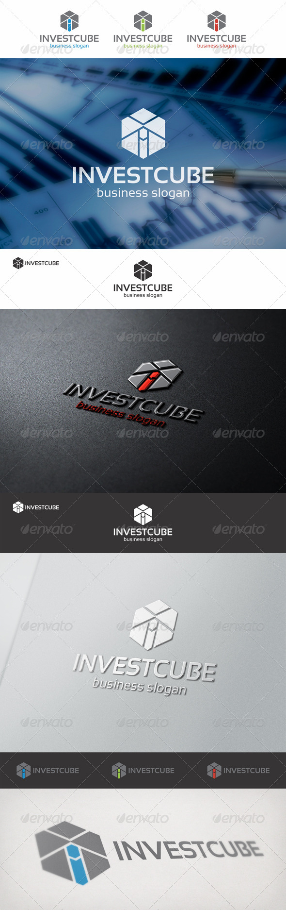 Invest Cube Logo Template - Vector Abstract