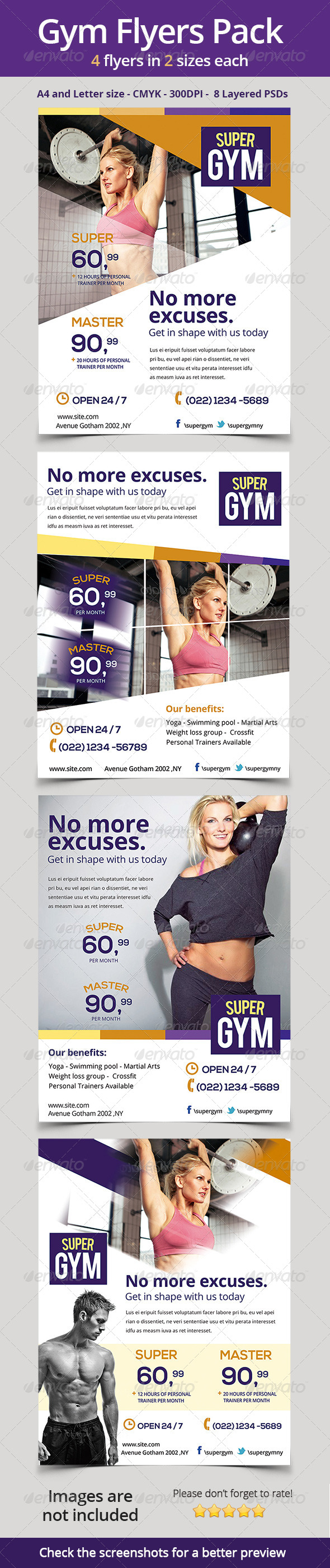 Gym / Fitness Flyers Pack - Sports Events