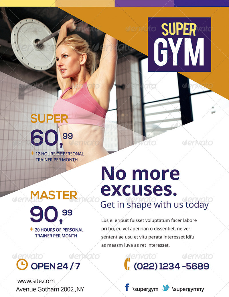 Gym Fitness Flyers Pack By Ingridk Graphicriver