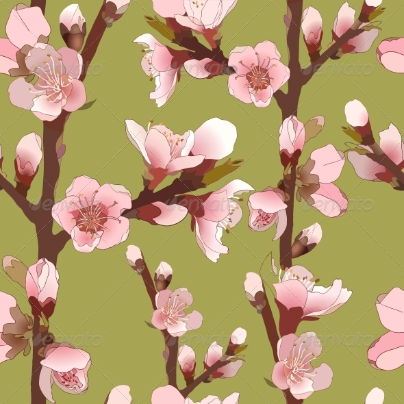 Seamless Pattern with Blossoming Pink Flowers - Flowers & Plants Nature
