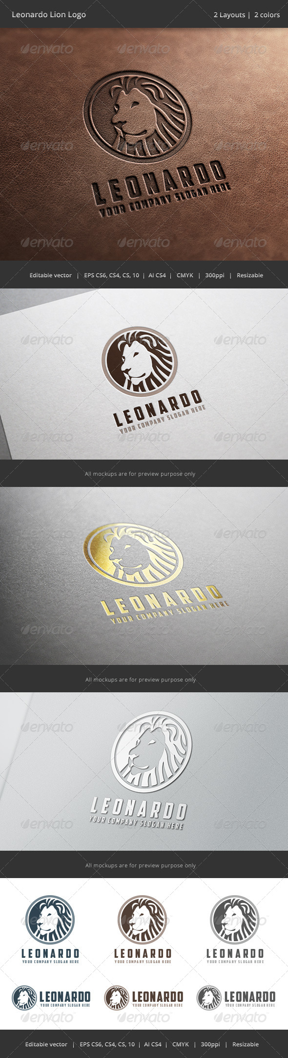 Leonardo Lion Logo - Animals Logo Templates
