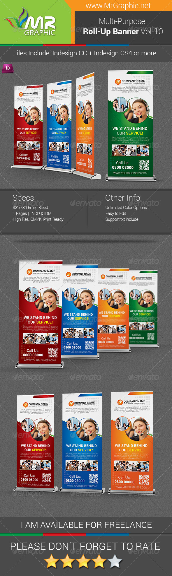 Multipurpose Business Roll-Up Banner Vol-10 - Signage Print Templates