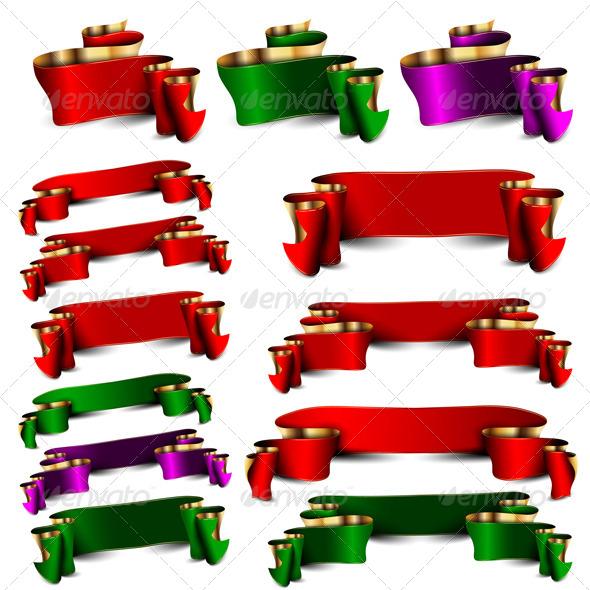 Set of Empty Royal Color Ribbons - Decorative Vectors