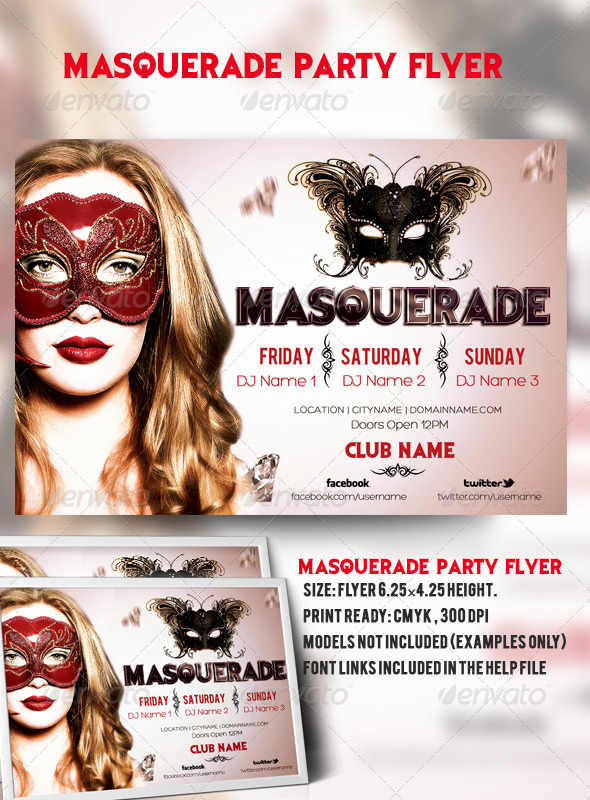 Masquerade Party Flyer - Clubs & Parties Events