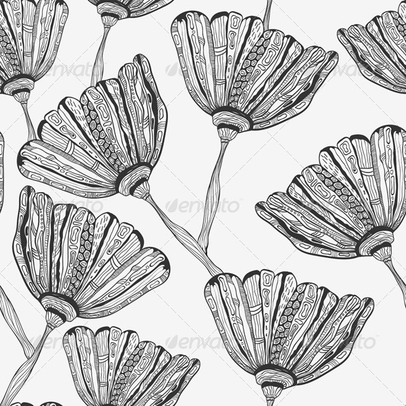 Seamless Pattern with Bizarre Flowers - Patterns Decorative