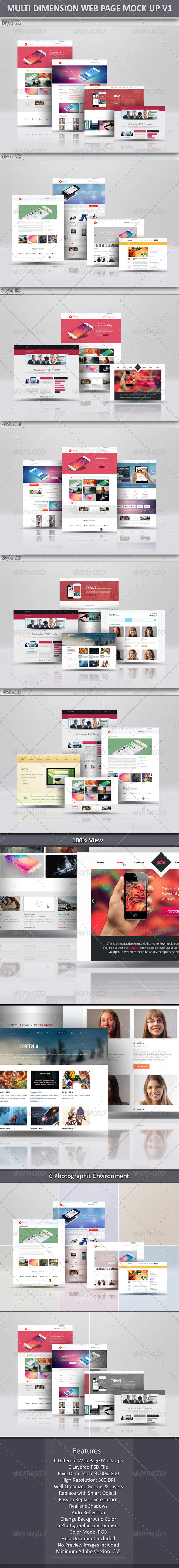 Multi Dimension Web Page Mock-Up - Website Displays