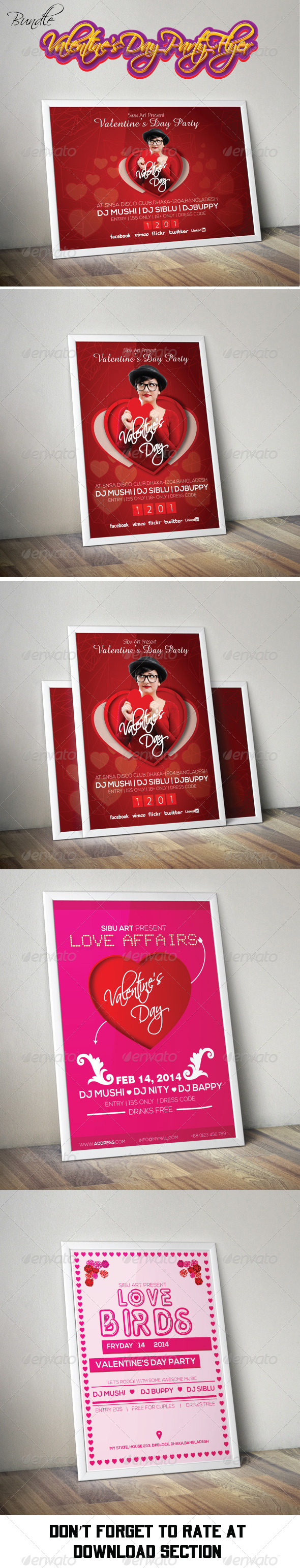 Valentine's Day Party Flyer Bundle Pack - Clubs & Parties Events
