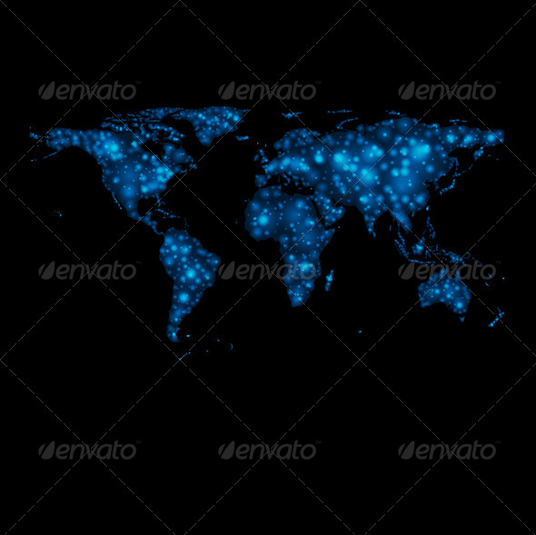 Abstract Shiny Lights World Map - Backgrounds Decorative