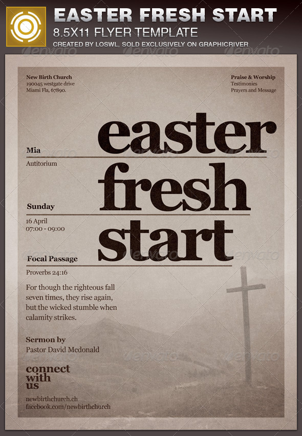 Easter Fresh Start Church Flyer Template - Church Flyers