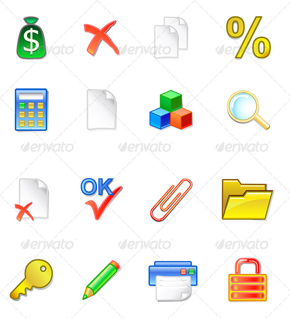 Accountant Icons - Web Elements Vectors