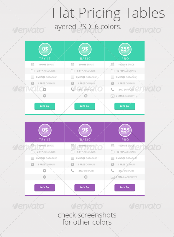 Flat UI Pricing tables in 6 colors - Tables Web Elements