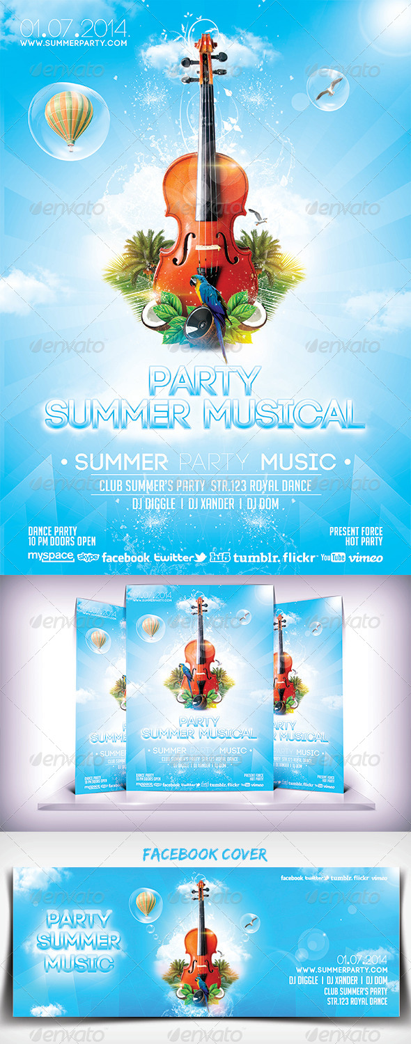 Summer Musical Party Flyer - Clubs & Parties Events