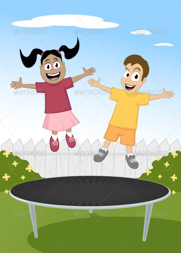 Children on Trampoline - People Characters