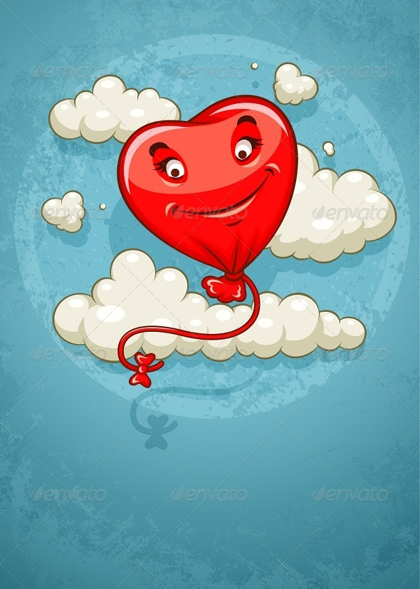Red Heart Baloon Flying Among Clouds Retro - Valentines Seasons/Holidays