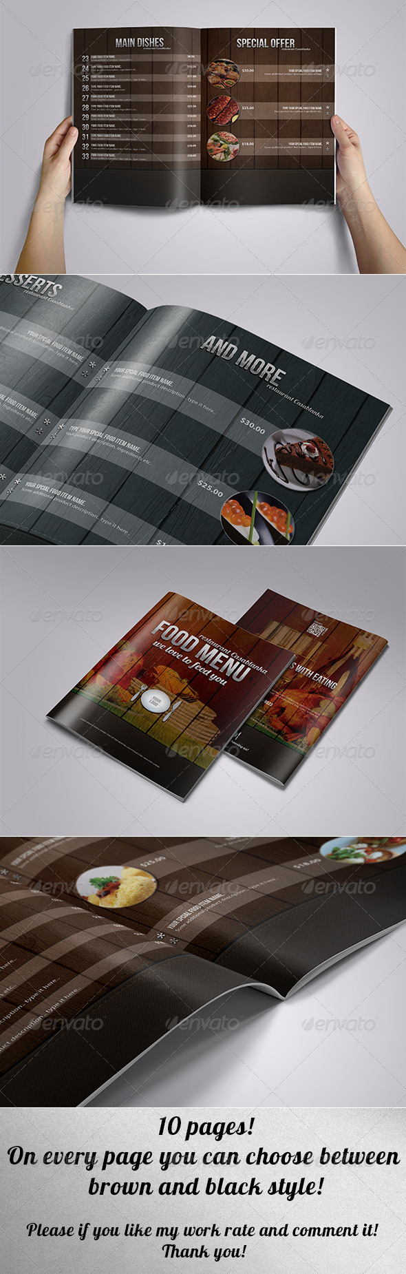 Elegant food menu leather and wood - Food Menus Print Templates