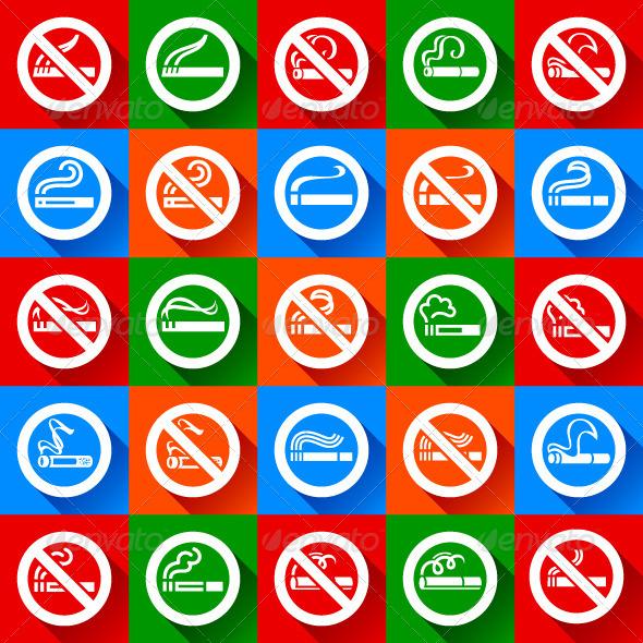 Set 25 stickers. No Smoking and Smoking Area Symbols - Decorative Symbols Decorative