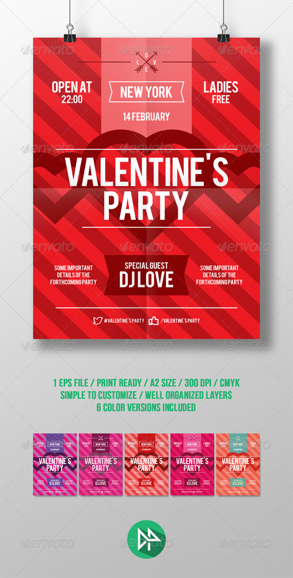 Valentine's Day Party Poster Template - Events Flyers