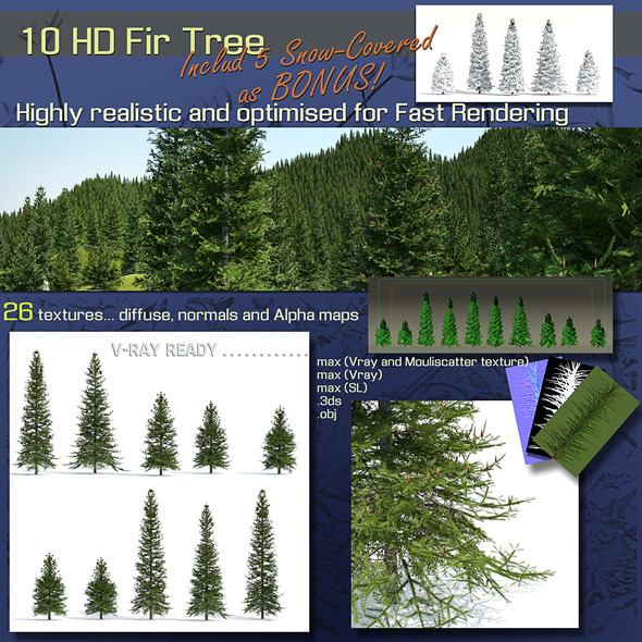10 Fir Trees - 3DOcean Item for Sale