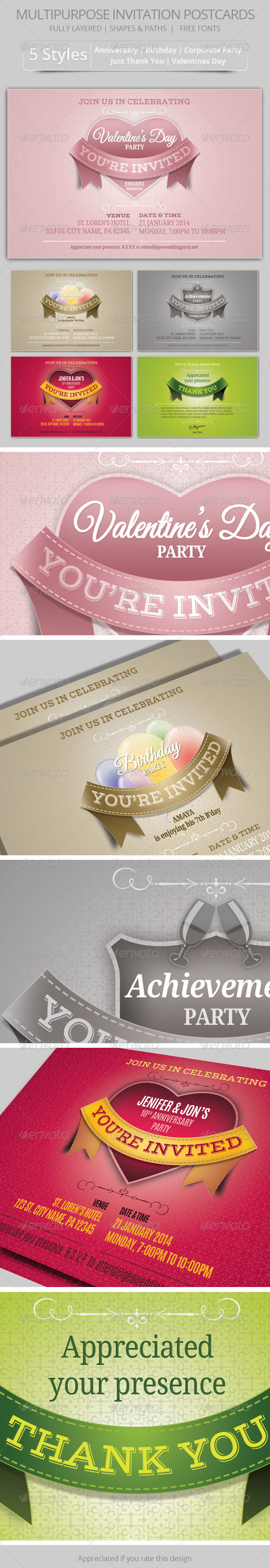 Multipurpose Invitation Postcards - Invitations Cards & Invites