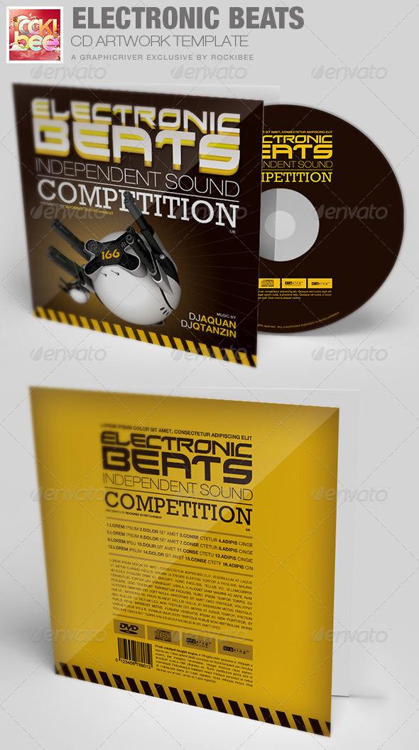 Electronic Beats CD Artwork Template - CD & DVD Artwork Print Templates